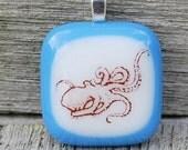 Octopus Pendant Fused Glass Pendant - Octopus Jewelry - Sea Creature