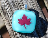 SALE Maple Leaf Pendant Turquoise Blue - Copper and Fused Glass Pendant
