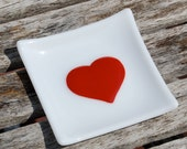 Red Heart Ring Holder, Fused Glass Trinket Dish, Wedding, Anniversary, Love