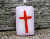 SALE Cross Pendant - Pink and Red Cross - Teen Girl Gift - Easter