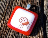 SALE Ladybug Jewelry Fused Glass Pendant Good Luck Charm Handmade Poppy Red