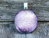 Pink Silver Dichroic Fused Glass Pendant - Rose Smoke Petite Size Jewelry