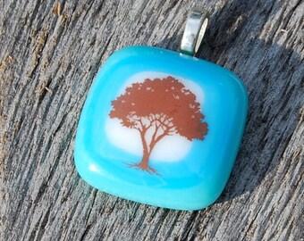 SALE Tree Fused Glass Pendant Handmade Jewelry