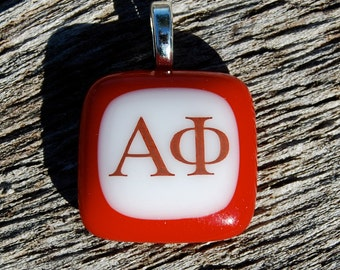 Alpha Phi Jewelry Fused Glass Pendant Handmade