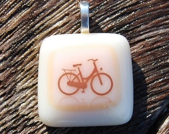 SALE Bicycle Pendant Fused Glass Pendant - Bike Jewelry