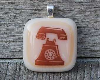 SALE Rotary Telephone Fused Glass Pendant - Telephone Jewelry