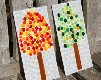 Trees Fused Art Glass Wall Hangings - Wedding Gift - Home Decor