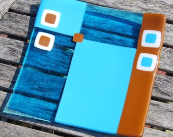 Turquoise and Brown Fused Art Glass Plate Handmade Wedding Gift