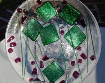 SALE Christmas Plate Fused Art Glass Cranberry and Green Shimmer