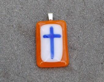 SALE Cross Pendant - Fused Glass Pendant - Christian Jewelry - Orange and Blue