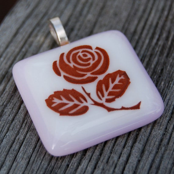 SALE Rose Fused Glass Pendant Flower Jewelry