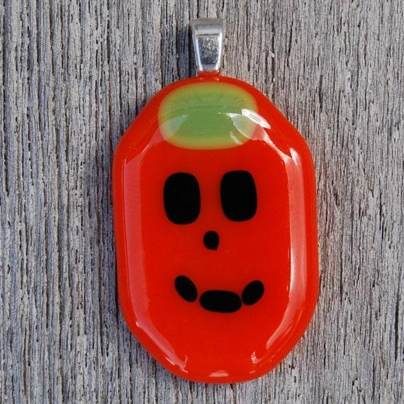 SALE Halloween Pumpkin Fused Glass Pendant - Jack o Lantern