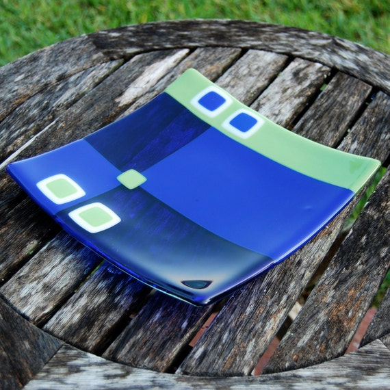 Lime and Cobalt Blue Fused Glass Plate - Wedding or Housewarming Gift