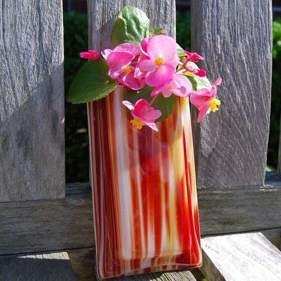Wall Vase Fused Glass Air Plant Holder Brown Stripes, Pocket Vase, Wall Decor