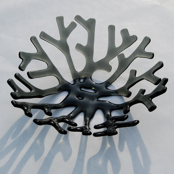 Charcoal Grey Coral Bowl - Fused Art Glass Sculpture - Ready to Ship, Titanium