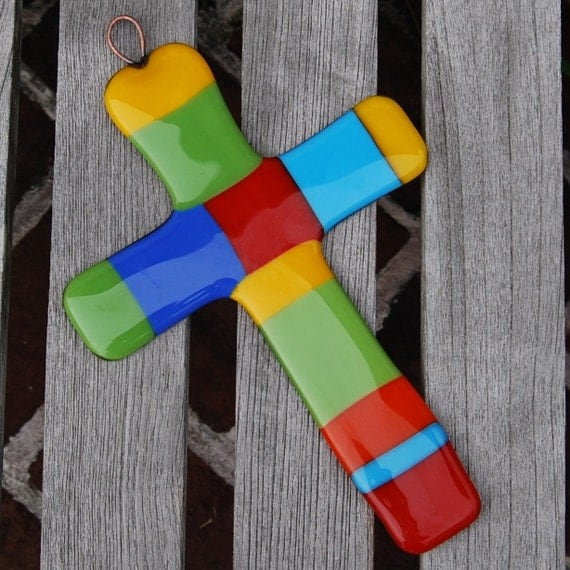 Colorful Wall Cross Fused Glass