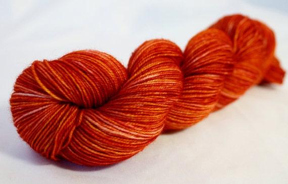 California Poppy--hand dyed fingering weight yarn, BFL superwash, (465yds/100gm)