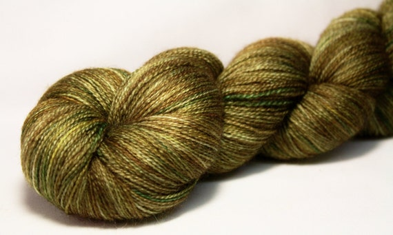 Thelma--hand dyed lace weight yarn, BFL and silk, (875yds/100gm)