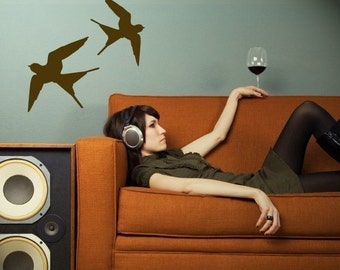 flying barn swallows vinyl wall decal