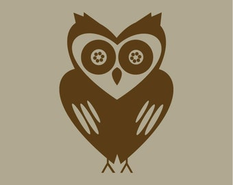 set of 3 unique owl vinyl wall decals