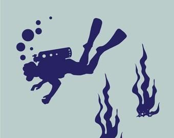 scuba diver and seaweed underwater vinyl wall decals
