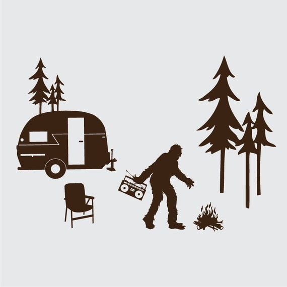 Happy Sasquatch Camper Laptop Or Wall Vinyl Decal Kit