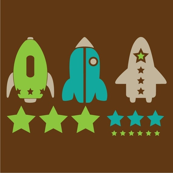 Rocket Ships and Stars Space Vinyl Wall Decal Kit by ...