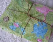 Soft Cotton Flannel Fabric - Green and Pink Frogs