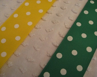 Shop Closing Sale - 10 Yards Polka Dot Ribbon - Offray Grosgrain - Great Quality - Yellow and Green