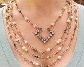 Statement Necklace, Wire Wrap Necklace, Beaded Bib Necklace, Rhinestone Statement Necklace