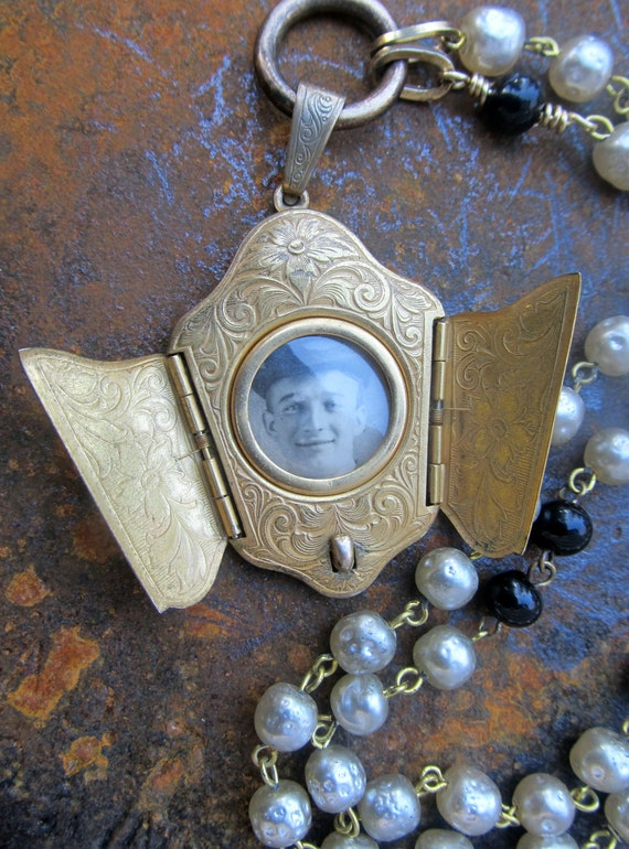 Antique Locket Necklace - Artisan Jewelry Upcycled Miriam Haskell Handcrafted Jewelry Antique Jewelry Assemblage by DanielleRoseBean