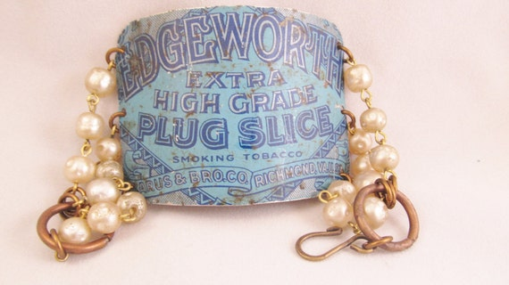 Shabby Chic Bracelet - Vintage Tin Cuff Bracelet with Glass Pearl Chain