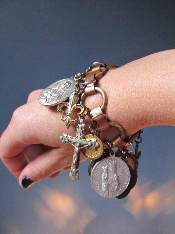 Religious Charm Bracelet, Chunky Bracelet, Catholic Jewelry, Big Chunky Charm Bracelet