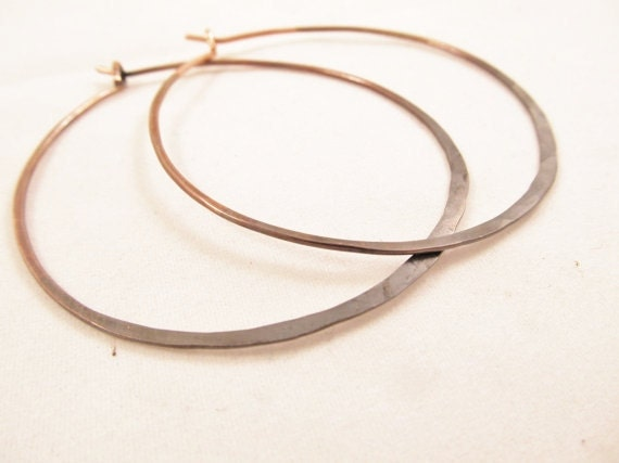 Large Hoop Earrings, Copper Hoop Earrings, Big Hoops, Rustic Urban Gypsy, Boho