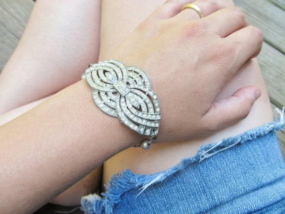 Antique Rhinestone Bracelet Art Deco Jewelry Rhinestone Wedding Jewelry Vintage Wedding DanielleRoseBean