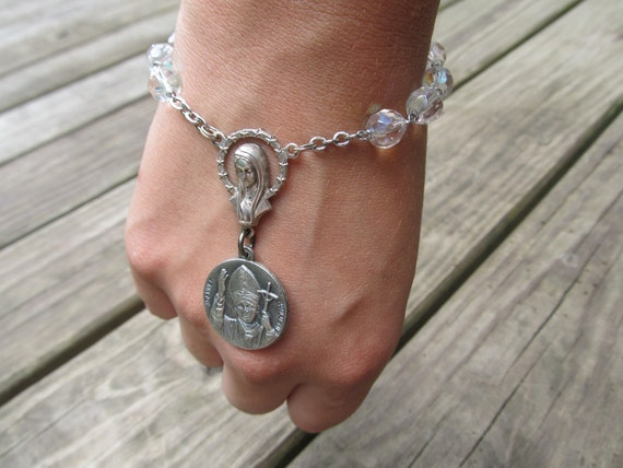 Rosary Bracelet Religious Statement Catholic Jewelry Silver Beaded Chain Bracelet Charm Bracelet Saint Medallion