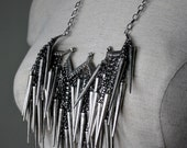Silver Spikes Statement Necklace