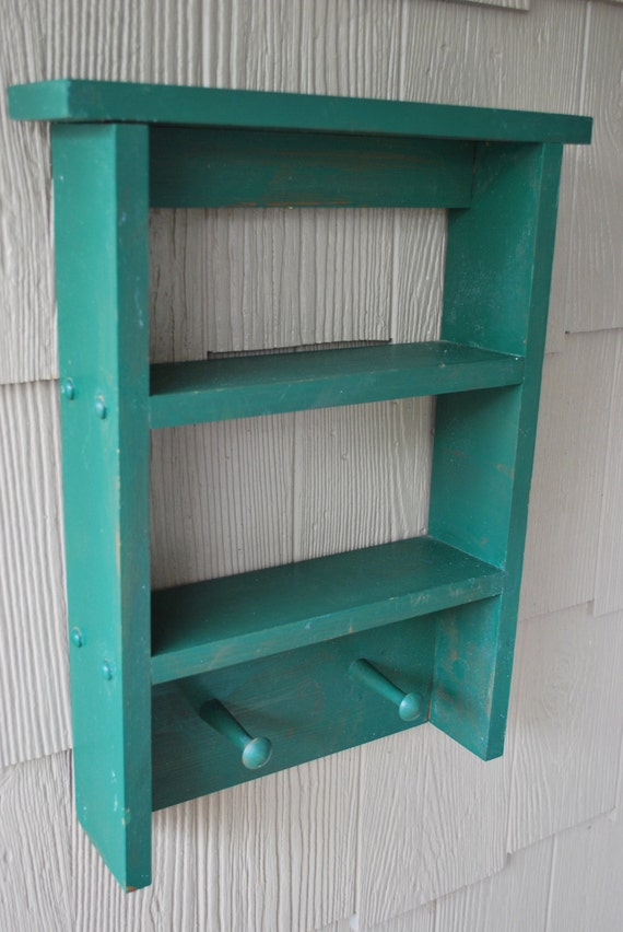 Chic and Shabby  Wood Wooden Green Shelf with Pegs SUMMER CLEARANCE
