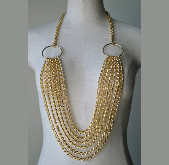 Multi Chunk Chain Statement Necklace in Gold Tone