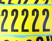 vintage industrial stickers - number 2 in yellow