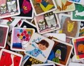 vintage game pieces - cute cardboard pics - square cut