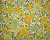 vintage wallpaper - yellow orange and green floral - per yard