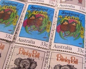 postage stamp ephemera - vintage book titles - 9 mixed - Blinky Bill Snugglepot Cuddlepie Magic Pudding