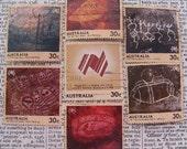 Australian stamps - Aboriginal rock art - 7 - vintage postage stamp ephemera