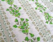 vintage fabric - green and olive lacy stripe floral