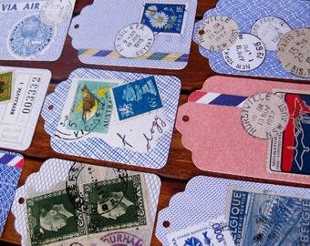 vintage mail ephemera - collage gift tags - set C - 12 large - REPRO
