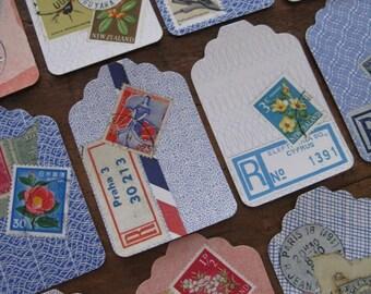 vintage mail ephemera - collage gift tags - set B - 12 large - REPRO