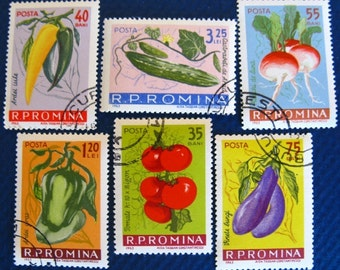 Romanian vegetable stamp set - postage stamp ephemera