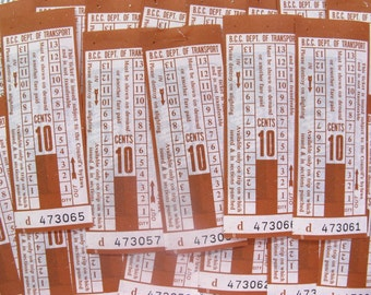 vintage tickets - 50 - Brisbane bus tickets - complete block