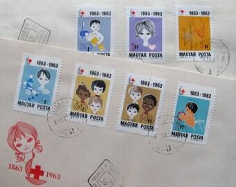 vintage envelopes plus stamps - hungary 1963 - postage stamp ephemera